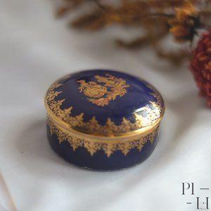 Limoges Lazeyras cobalt and gold trinket box